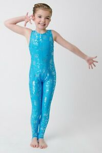 LYCRA-SPANDEX-TURQUOISE-CATSUIT-WITH-ALL-OVER-SILVER-SPARKLE-STRAPPY-BACK