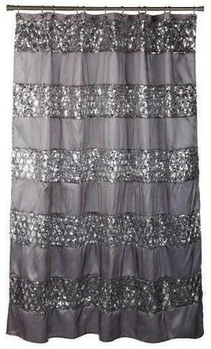 Popular Bath Sinatra Fabric Shower Curtain, Silver With Silver Sequins