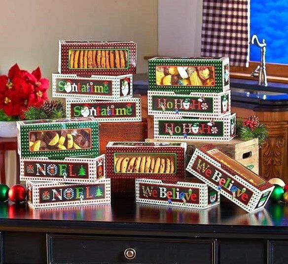 Set Of 12 Large Holiday Treat Boxes For Christmas Goodies Homemade Gifts Cookies