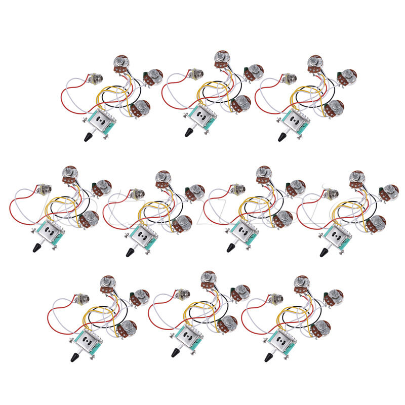 Guitar Wiring Harness PrewiROT Kit 5 Way 250K 2T1V for Strat Parts Set of 10