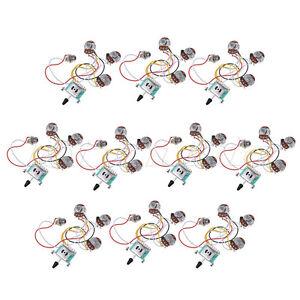 guitar wiring harness kit 5 way 250k 2t1v pots for strat parts set of 10 634458683869 ebay. Black Bedroom Furniture Sets. Home Design Ideas