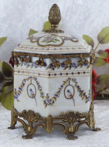 Porcelaine Canette Bonboniere bronze apparat vasculaires Deckeldose Coffret Antik urne NEUF