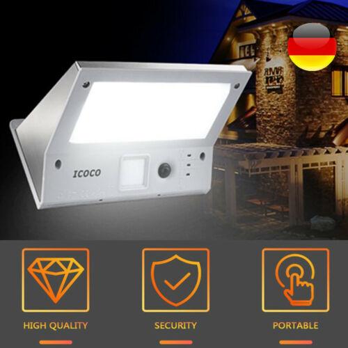 LED Solarleuchte mit Bewegungsmelder Außen Fluter Gartenstrahler Solar Lampe 21W