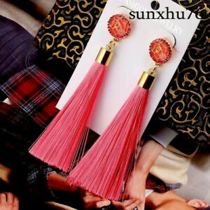 Fashion-Bohemian-Earrings-Women-039-s-Long-Tassel-Fringe-Boho-Dangle-Earrings