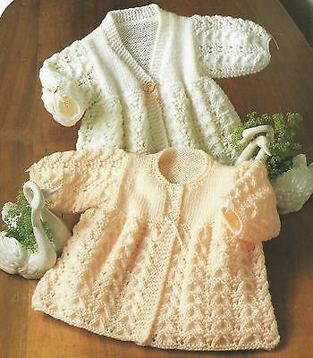"Baby Cardigans 14-18"" DK Knitting Patterns round or v neck premature size  216"