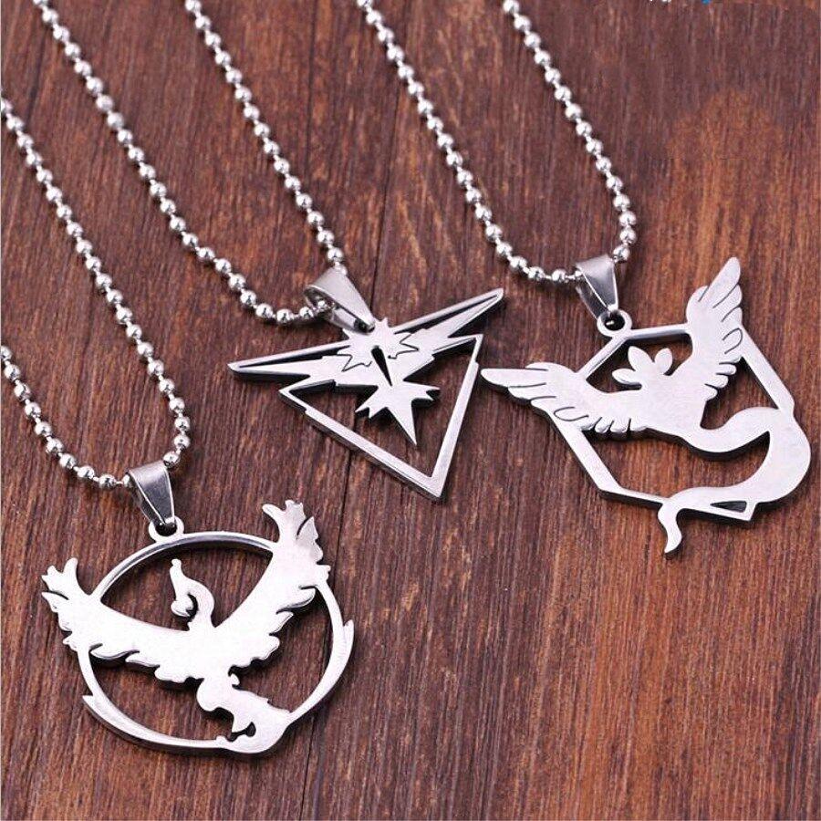 bec55c8539e45 Hot Pokemon Go Team Valor Mystic Instinct Logo Stainless Steel Necklace  Pendant