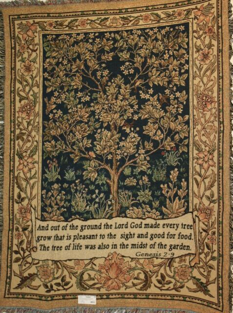 THE TREE OF LIFE WITH GENESIS - Celtic Prayer Tapestry Throw Blanket Fringed