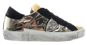 Sneakers-Femmes-PHILIPPE-MODEL-Paris-PRLD-MS02-Cuir-Miroir-Dore