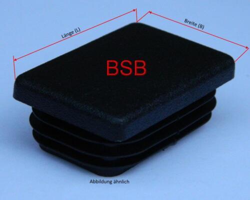 Lamellenstopfen 80x50mm  WS 2-4mm schwarz Rechteckstopfen 10 Stk