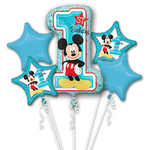 Mickey Mouse Large 1st Birthday Balloon Bouquet Age 1 Birthday Party Decoration