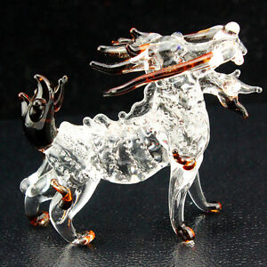 2.3 inches Lion Dragon Figurine Animal hand made Blown Glass Crystal / R1013