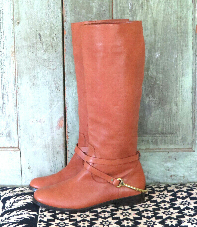 Ralph Laurel Jenny luz marrón cuero botas de Montar W Estribo De Latón  2