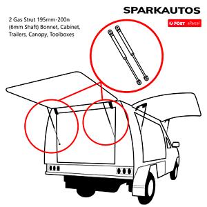 2-Gas-Strut-195mm-200n-6mm-Shaft-Bonnet-Cabinet-Trailers-Canopy-Toolboxes