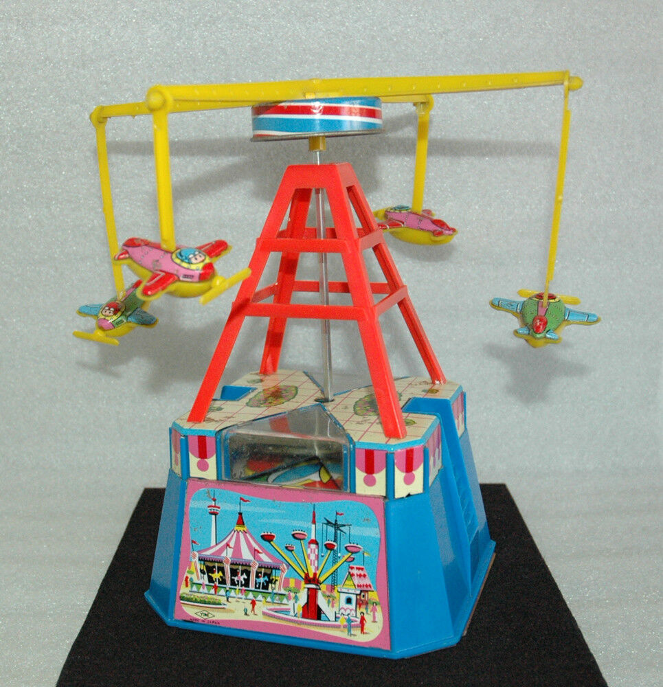 Nice Vintage Tin Toy & Plastic ✱ FAIR CAROUSEL ✱ Windup YONE JAPAN Working 70`s