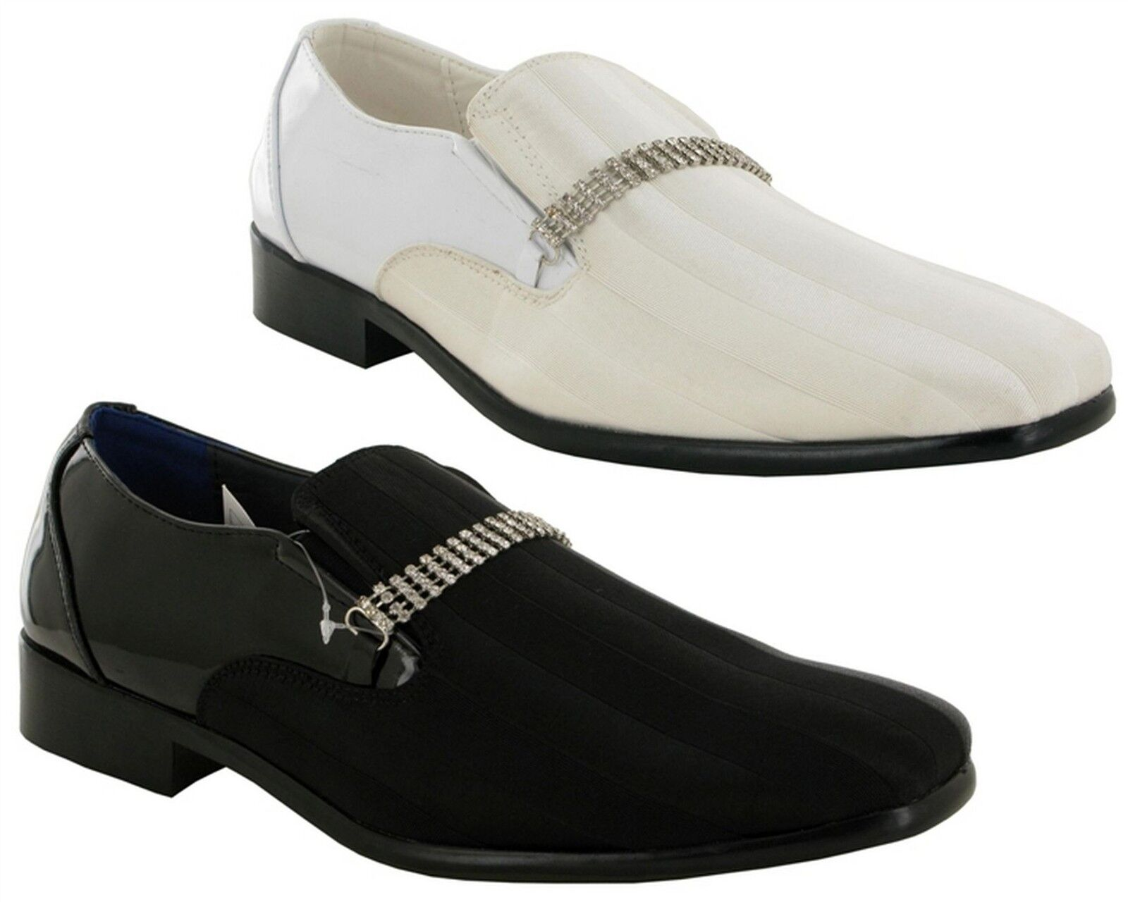 Mens New Wedding Slip On Patent Smart Wedding New Dress Chain Trim Formal Shoes Size 6-11 211e92