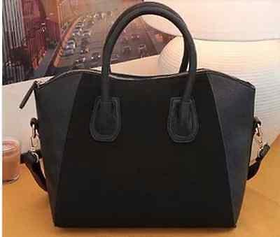 Handtasche Vintage Retro schwarz Damen Umhängetasche PU Leder Style Velours pink