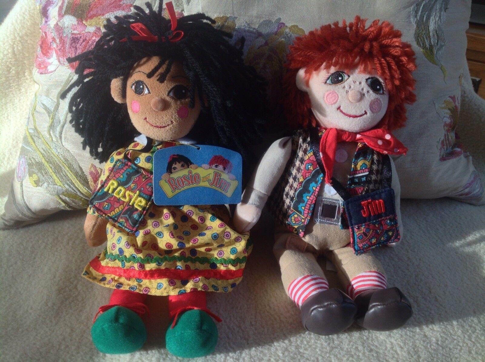 Rosie & Jim plush beanie beanie beanie Rag Dolls avec leurs sacs fourre-tout & Tag!!! - RARE!!! 4df01b