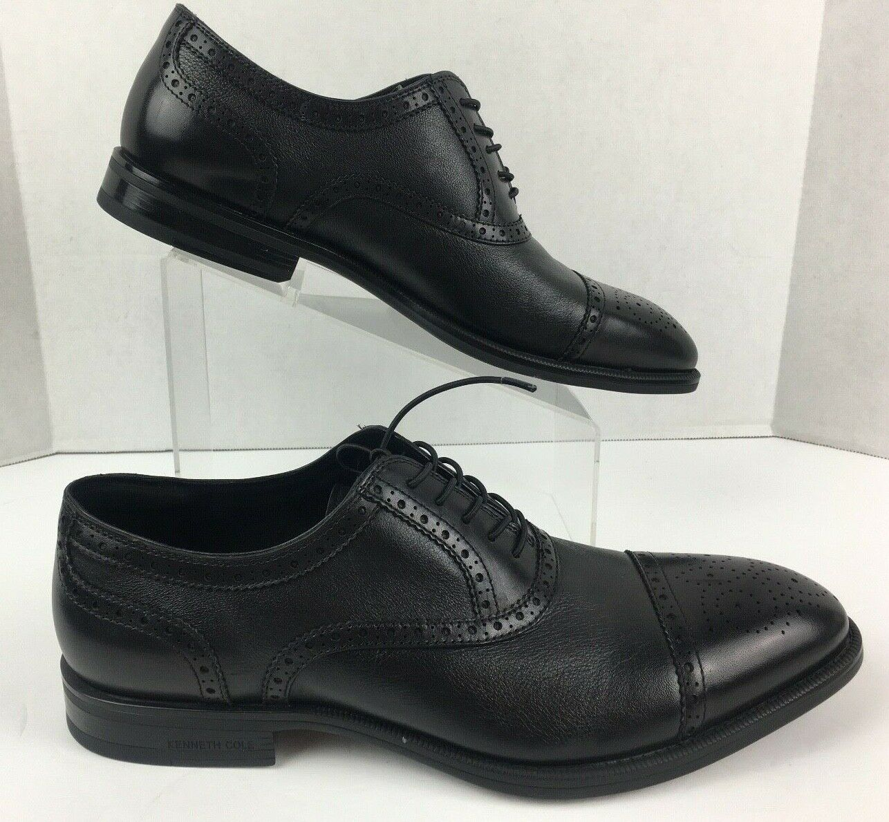 Kenneth Cole New York Mens FUTUREPOD Lace Up Black Leather Oxfords Shoe Size 12M