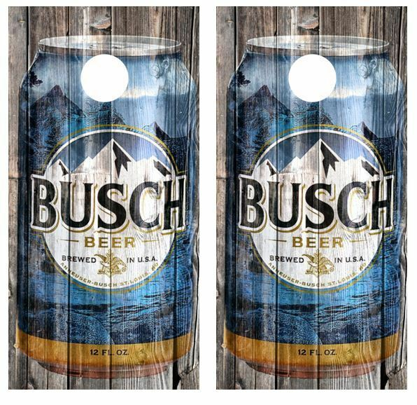 Busch Beer - Beer Can Barnwood Cornhole Board WrapsFREE LAMINATION