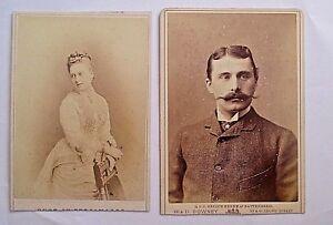 2-ANTIQUE-CABINET-CARD-1880s-PRINCESS-BEATRICE-OF-BATTENBERG-amp-HER-HUSBAND