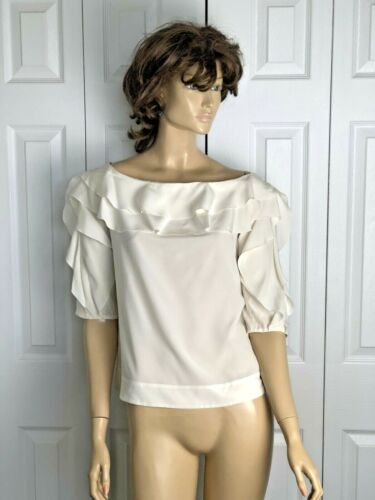 L'AGENCE IVORY SILK RUFFLE OFF SHOULDER  BLOUSE SI