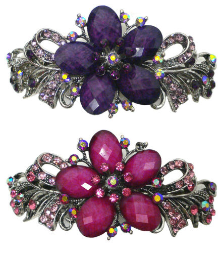 Bella Set of 2 Large Barrettes Hair Clips Beads and Crystals U86012-0052-2