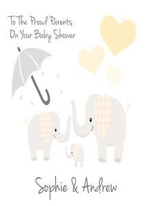Baby Shower Personnalisé Carte De Vœux (mignon Éléphants) Neutre A5 Taille Livraison Gratuite-afficher Le Titre D'origine Blanc Pur Et Translucide