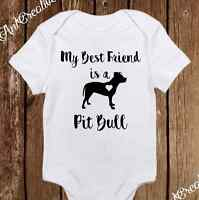 Best Friend Is A Pitbull Onesies - Neutral Baby Clothes Cute Outfit Unisex