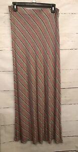 NWT-Sophie-Max-Gray-Pink-White-Diagonal-Striped-Medium-Maxi-Skirt