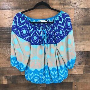 Trina Turk Women's Blue Gray Print Semi Sheer Balloon Sleeve Tie Neck Line Top