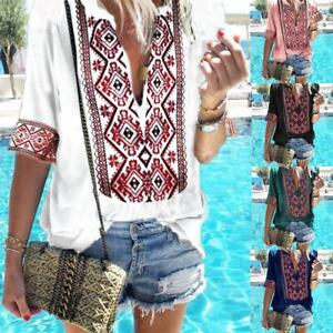 Womens-Summer-Ethnic-V-Neck-Blouses-Loose-Baggy-Tops-Tunic-T-Shirts-Plus-Size