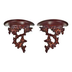 vintage asian wood wall shelves a pair ebay rh ebay com