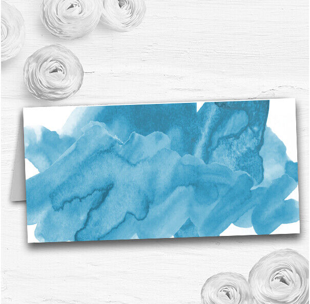 Sea Blau Watercolour Wedding Table Seating Name Place Cards