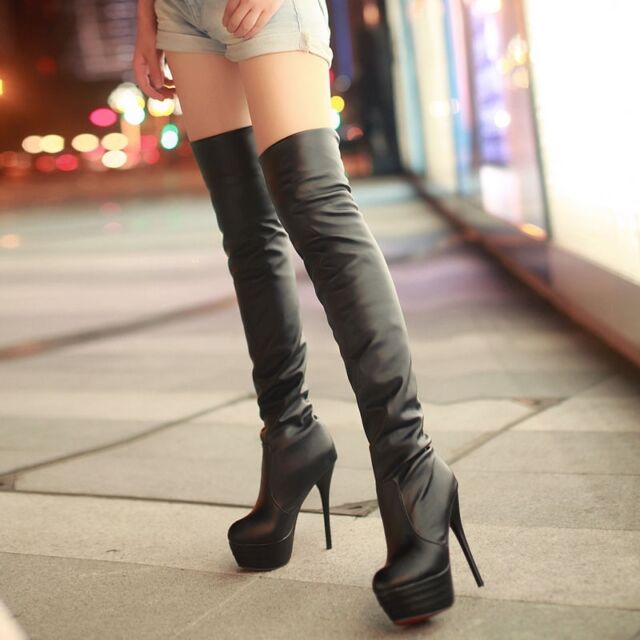 Womens Over the Knee Boots High Heel Stiletto Pull On Platform Sexy Party Shoes