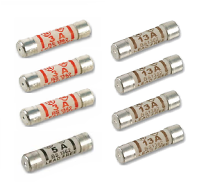 1 x 5amp BS MARKED 3 x 3amp 8 Pack Of Fuses 4 x 13amp