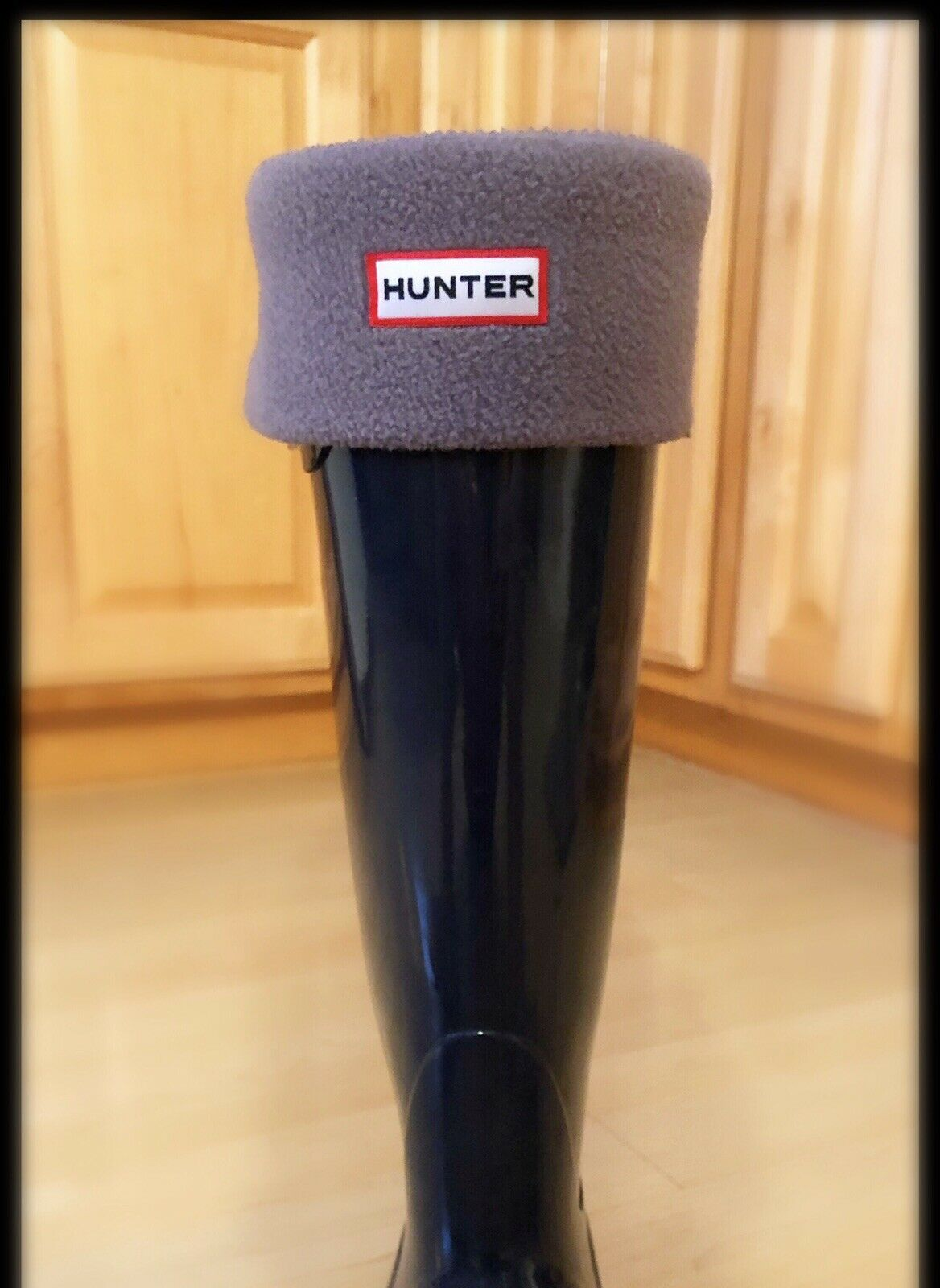 Hunter Tall Navy Gloss Boot With Removable Fleece Liner
