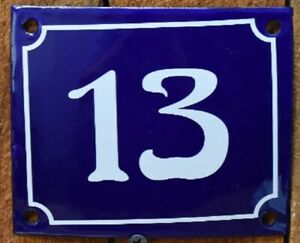 Vintage Style Blue Enamel Porcelain French House Number Door Steel Metal Sign 4