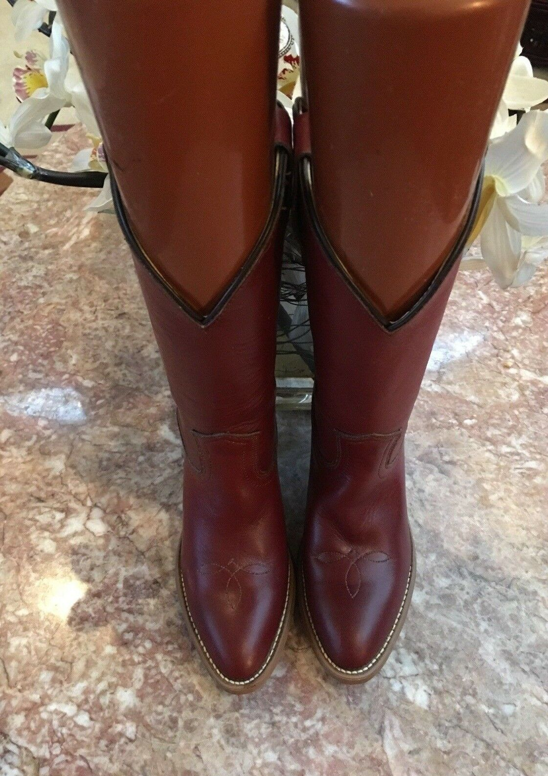 New Frye American Classics Vintage Women's Brown Leather Cowboy Boots Size 5.5B