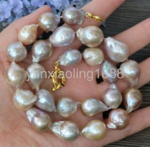 15mm 21mm AAA Baroque Pearl Deep Mauve Natural Color Nucleated Flameball