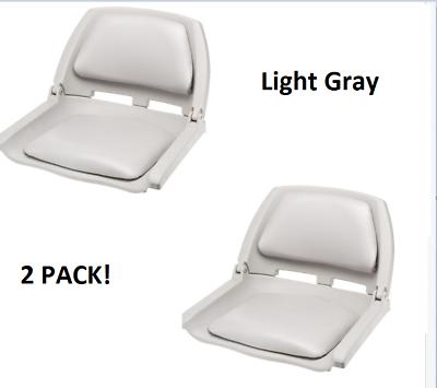 Padded Boat Seat 2-Pack Fold Down Light Gray Seat Bass Fishing