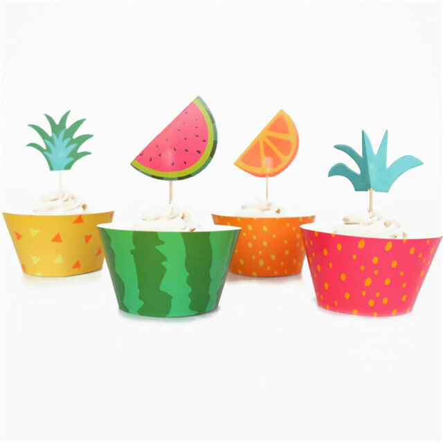 12x Cupcake Wrappers+12PCS Cake Toppers Fruit Platter Series Pool Party Decor Nj