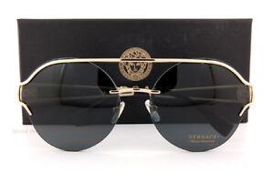 21116e8fef23e Sunglasses Brand New VERSACE Sunglasses VE 2184 1252 87 Gold Solid Gray For  Women Sunglasses   Sunglasses Accessories