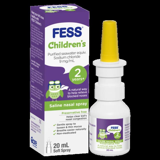 Fess Children's Saline Nasal Spray 2 Years+ 20mL Relieve Blocked Noses