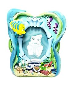 Disney-The-Little-Mermaid-3D-Resin-Picture-Frame-Flounder-Sebastian-4x6-034-Photo