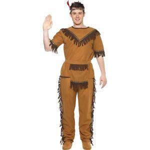 Image is loading Mens-Brave-Indian-Costume-Cowboy-Fancy-Dress-WIld-  sc 1 st  eBay & Mens Brave Indian Costume Cowboy Fancy Dress WIld Pocahontas Chief ...