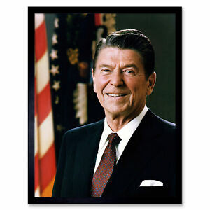 Official-Portrait-US-President-Ronald-Reagan-Photo-Wall-Art-Print-Framed-12x16