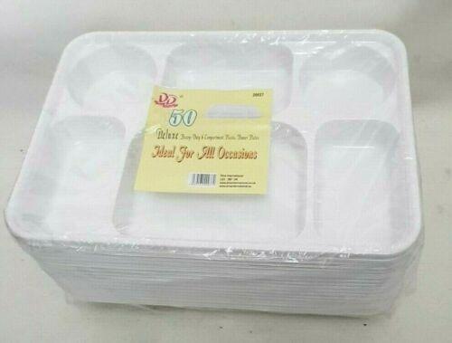 """Plaques De Plastique Jetables asiatique Thali 6 DIP sections 12 X 9/"""" BBQ Fêtes Mariage"""