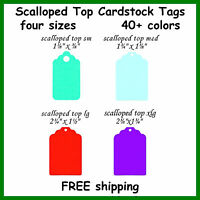 100 Scalloped Top Color Cardstock Tags Gift Jewelry Retail Sale Price Hang Tag
