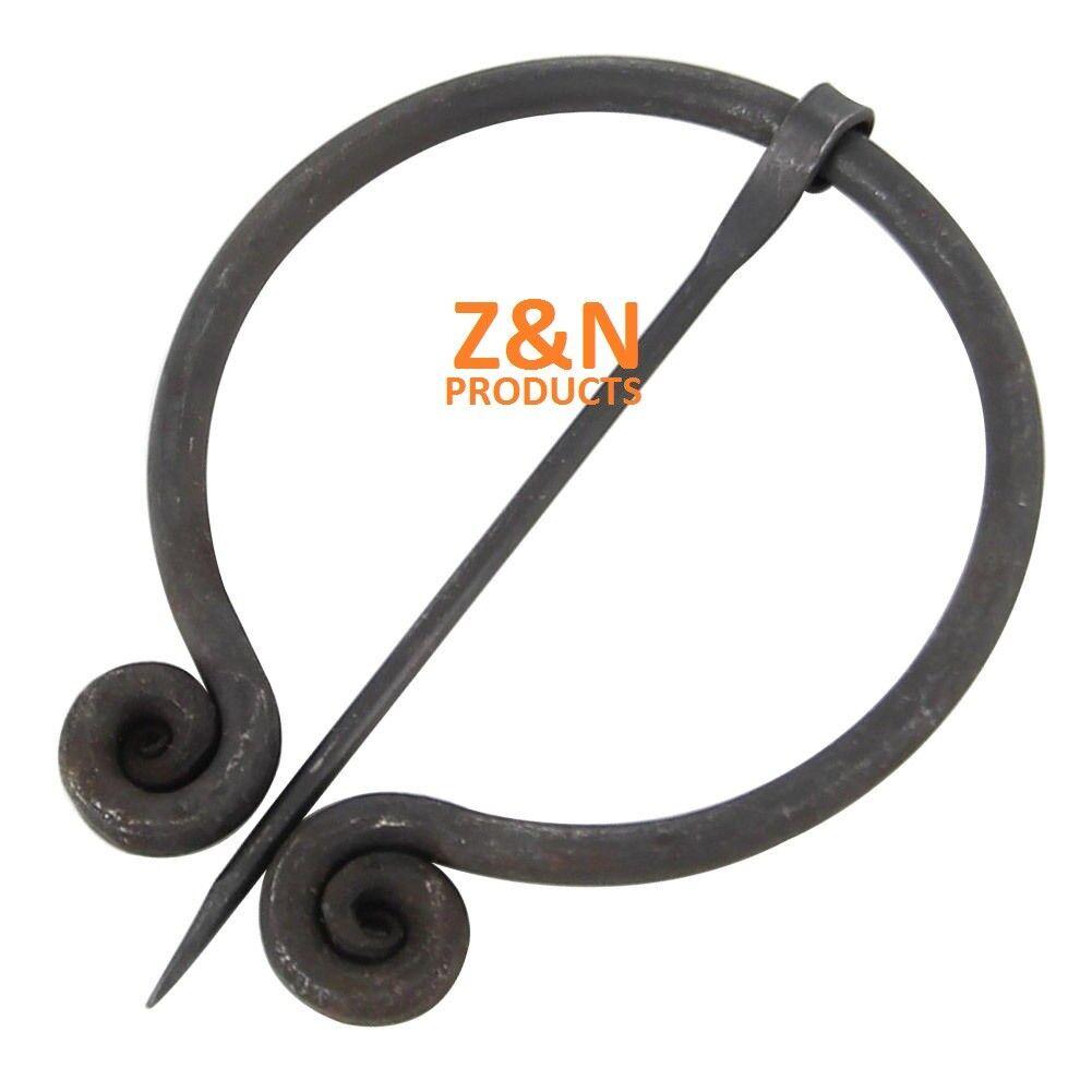 Hand Forged Medieval Black Steel Brooch Pennanular Cloak Pin (Carbon Steel)