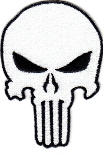 PUNISHER SKULL WHITE w//BLACK Iron On Patch Military Army Tactical Combat